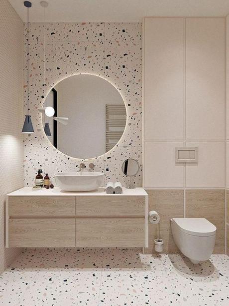 Decora tu casa mediante la luz -Baño con terrazo- El blog de laucreativa