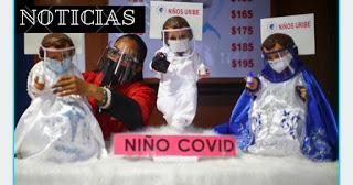 Niño Jesús Covid causa furor en Latinoamérica por llevar traje de protección y mascarilla