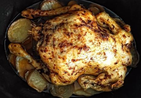 Pollo asado en slowcooker , éxito asegurado con una receta muy sencilla de preparar