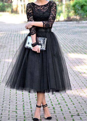 Falda Midi Tul Negra
