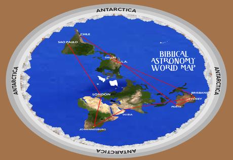 Mapa de la tierra plana y la Antartida