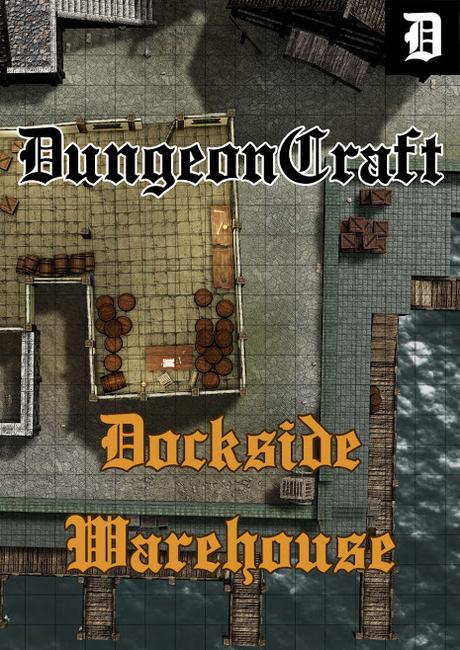 VTT & Print Battlemap:Dockside Warehouse Preview, de DungeonCraft