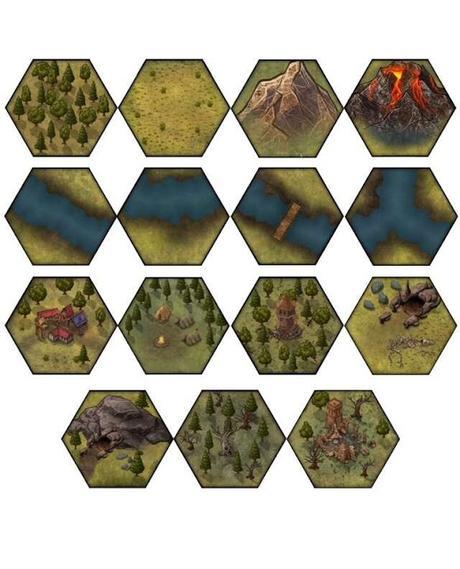 Hexplorer: Digital Hex Map Tiles (Intro Set), de Headless Hydra Press