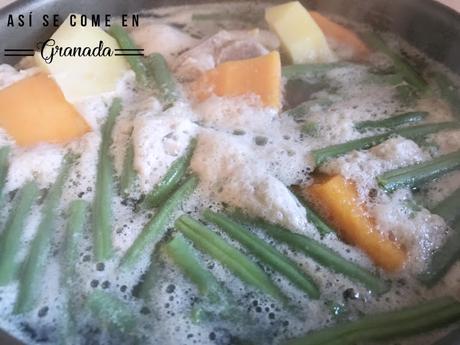 Puchero de habichuelas verdes y calabaza