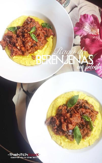 Ragú de berenjenas con polenta (Receta vegana)