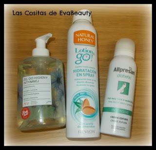 Gel íntimo Vis Plantis, Hidratante en spray Natural Honey y Espuma pies Allpresan