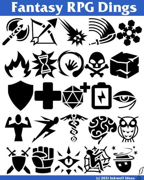 Dos ayudas en forma de iconos y símbolos para RPGs