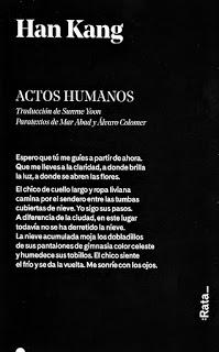 ~♥ Reseña #409 = Actos Humanos ~ Han Kang