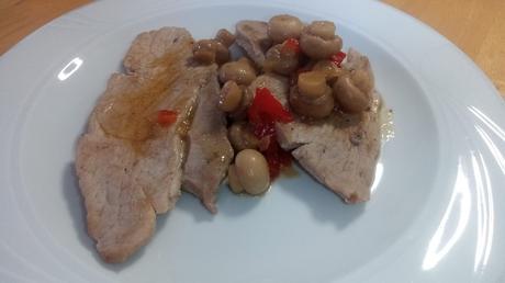 filetes de jamón de cerdo con champiñones