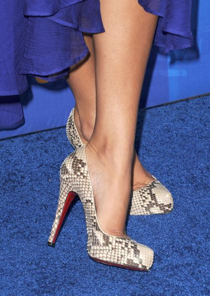 TV personality Kourtney Kardashian (shoe detail) arrives at the 2011 Teen Choice Awards held at the Gibson Amphitheatre on August 7, 2011 in Universal City, California.