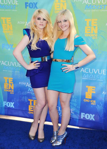 Destinee Monroe and Paris Monroe of Destinee & Paris arrive at the 2011 Teen Choice Awards held at the Gibson Amphitheatre on August 7, 2011 in Universal City, California.