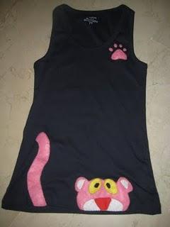 Camiseta Adorno Fieltro  Pantera Rosa