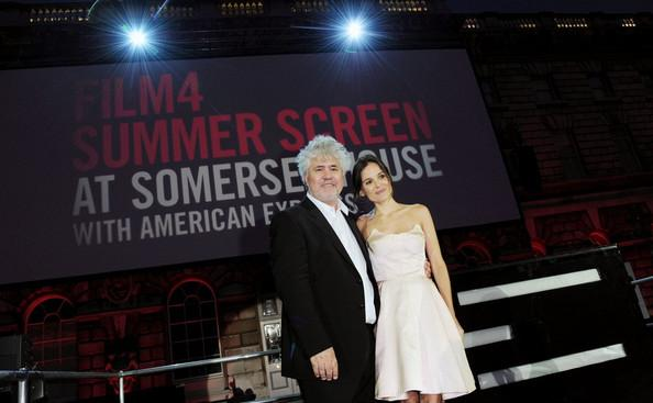 Pedro Almodovar, Elena Anaya and Grace Jones attend the opening night of Film4 Summer Screen at Somerset House with the UK Premiere 'The Skin I Live'.
