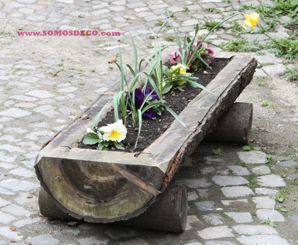 Una jardinera r stica en un tronco paperblog for Como hacer un jardin rustico
