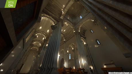 Réplica en Minecraft RTX: Iglesia de San Martín de Tours de Frómista, Palencia, España con interiores.