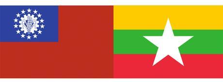 Banderas de Birmania y de Myanmar.