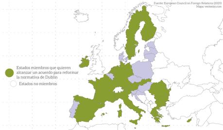 Mapa sobre el convenio de Dublin en Europa.