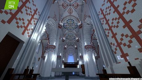 Réplica en Minecraft RTX: Iglesia de Santiago Apostol de Villamoron, Burgos, España.