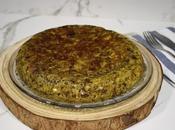 Tortilla patatas pimiento asado morcilla
