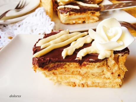 Tarta de galletas con queso mascarpone y chocolate