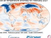 nivel mundial, febrero 2021 estuvo cerca promedio 1991-2020, pero frío últimos años