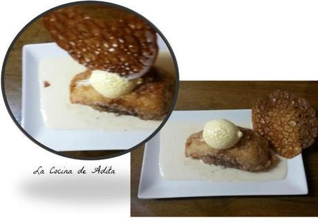 Torrija, sobre crema inglesa, con helado y crujiente