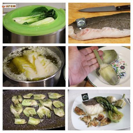 Bacalao skrei confitado con pakchoi y alcachofas en dos texturas, receta ganadora del 1er Concurso #CookingSkrei de Mar de Noruega