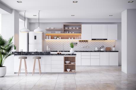 A Cozy Modern kitchen white room interior .3drender