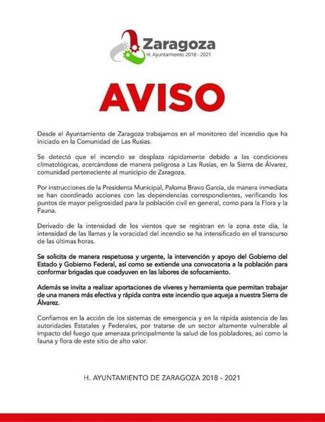 Se registra incendio forestal en la Sierra de Álvarez