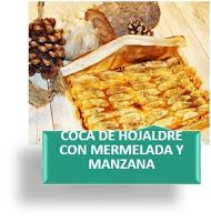 COCA DE HOJALDRE CON MERMELADA Y MANZANA