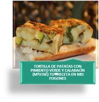 TORTILLA DE PATATAS CON PIMIENTO VERDE Y CALABACÍN