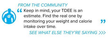 Tenga en cuenta que su TDEE es una estimación.  Encuentre el real controlando su peso y su ingesta de calorías a lo largo del tiempo.
