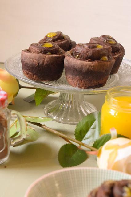 Rollos Veganos de Chocolate y Curd de Naranja