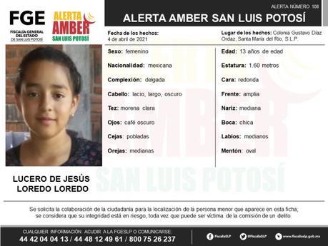 Alerta Amber: Lucero de 13 años fue vista por última vez en Santa María del Río