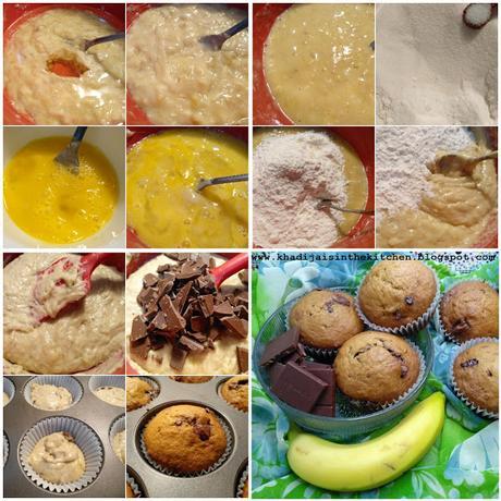 MUFFINS À LA BANANE ET AU CHOCOLAT / BANANA CHOCOLATE MUFFINS / MAGDALENAS CON BANANA Y CHOCOLATE / مافن الموز و الشوكولاطة
