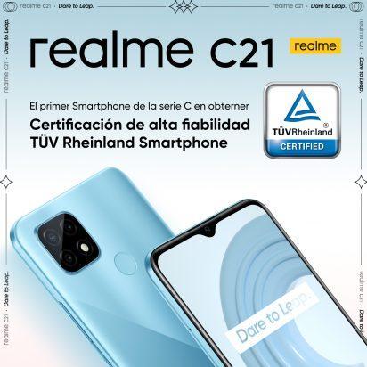 realme C21, la certificación TÜV Rheinland llega a la serie C