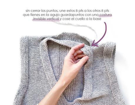 Chaleco de Punto Reversible DUO - Patrón y Tutorial - Cose la tira del cuello