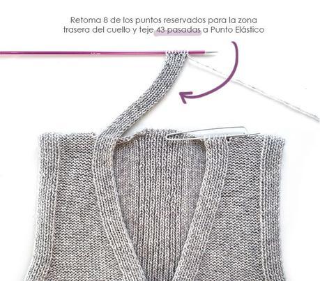 Chaleco de Punto Reversible DUO - Patrón y Tutorial - Teje la tira del cuello