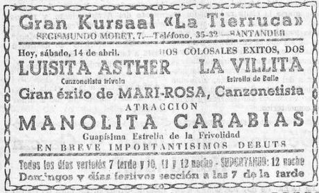 1934:Varietés en escena en Santander