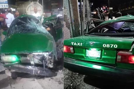 Camión de transporte embiste taxi y fallece la conductura