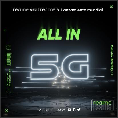realme 8 y realme 8 5G globalmeten el 22 de abril
