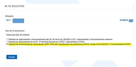 Como solicitar el fraccionamiento para afectados por ERTE si ya se ha presentado la declaración