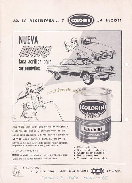 Colorín y su laca acrílica MMB para automóviles de 1966