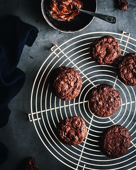 Brownie cookies con dulce de leche