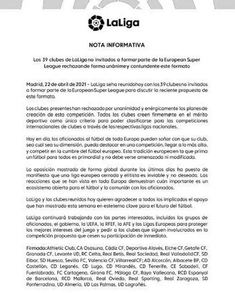 Rechazo unánime a la Superliga de los 39 clubes de LaLiga no invitados