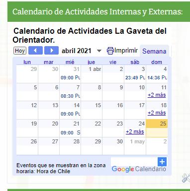 Hoy compartimos el Calendario de Actividades Internas y Externas de nuestro blog.