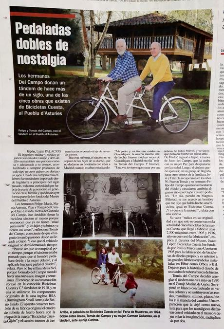 Tándem Cuesta donado al Museo del Pueblo de Asturias