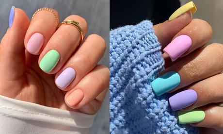 Tendencia de uñas 2021 arcoiris pastel