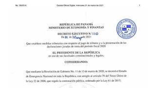 Decreto Ejecutivo No. 110 de 31 de Marzo de 2021