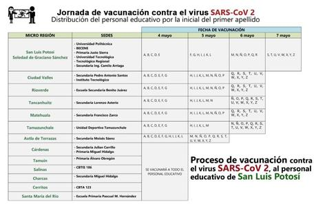 Este martes inicia vacunación a maestros en San Luis Potosí
